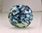 Blue Silver Lampwork Glass Focal Bead SRA Beads