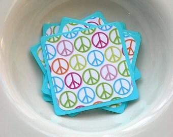 Glitter Peace Sign Mini Card Set, Rainbow Pint on Aqua Blue