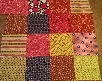 Groovy Vintage Calico Patchwork Fabric Pieces plus extra scraps