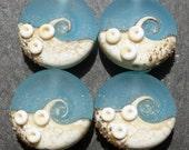 Lampwork Small Focals Sprees (4) Bright Aquamarine