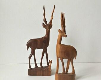 vintage pair hand carved wood antelope
