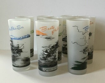 vintage set of eight mid century high ball iced tea frosted bar glasses Ohio River Boats