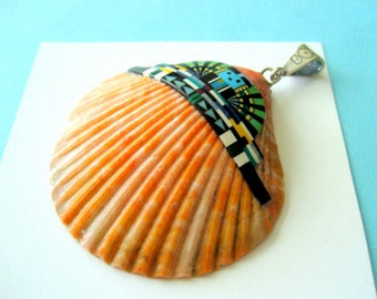 Zuni Spiny Oyster and Multi-Gemstone Inlay Pendant