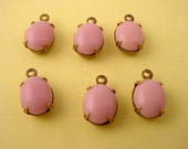 6 Vintage glass oval domed pink lavender 10x8 closed back brass ox 1 ring charms