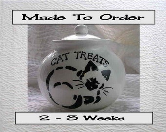 Siamese Stencil Ceramic Cat Treat Jar With Lid Handmade to Order by Grace M Smith