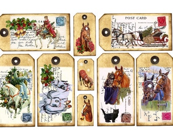 new Digital CHRISTMAS HORSE TAGS Printable  Digital Download Vintage Christmas Scrapbooking Card Making Altered art Atc