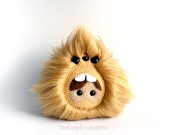 Tan Monster made Exclusively for Plush You! 2015 at Schmancy Toys, Plush Fluffy Light Brown Handmade Fuzzy Plushie, READY TO SHIP