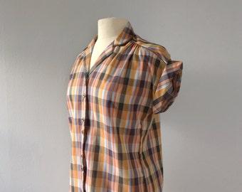 Vintage plaid short sleeve button up / brown plaid top 1970s top