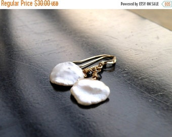 SALE 27% Off Keishi Petal Pearl Wire Wrapped Gold Filled Dangle Earrings