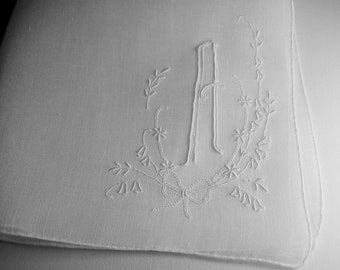 Vintage White Hanky with a Pale Blue A - Hankie Handkerchief With Hand Embroidery