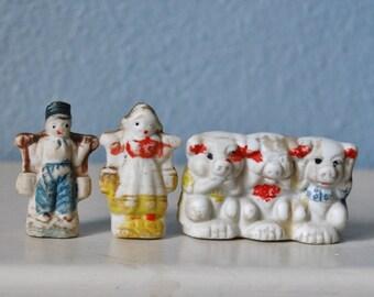 Vintage Bisque Pigs Hear Speak See No Evil Japan 1930s Dutch Couple Lot