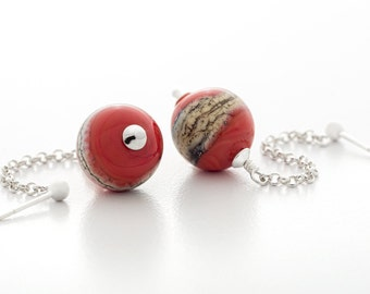 red earrings, handmade lampwork glass, sterling silver, dangle style, artisan jewelry