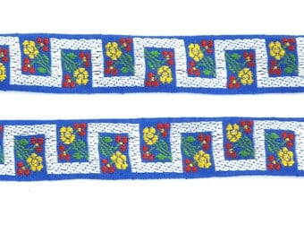 Blue Greek Key Floral Sewing Trim, Vintage Jacquard Tyrolean Ribbon  - 3 Yards - Red, Yellow, Green, Bue Floral Geometric - Sewing Supplies