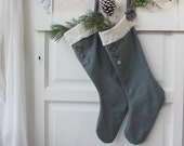 Steely Gray Christmas Stockings, Handmade, Christmas Stocking, For Him , set of TWO (2), Blue Gray, Gift Giving, Buttons, Grandparents gifts