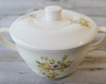 Yellow Flower Shabby Chic Sugar Bowl with Lid , Tea Time Sugar Bowl, Tea Party, Vintage Chic, Wedding Tabletop,