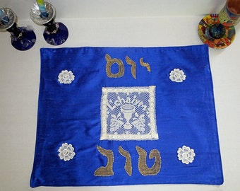 Royal Blue Silk challah cover with venise lace Kiddush Cup L'Chaim Mazel Tov Jewish wedding anniversary engagement great gift on sale now