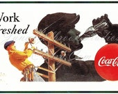 Digital Download Vintage PostCard and Billboard Images Lineman Drinking Coca Cola 0001