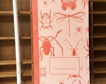letterpress insects handmade notebook