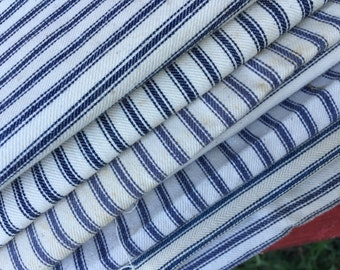 Lot of 7 Pieces of Vintage Blue and White Stripe Ticking Fabric for Feather Pillows