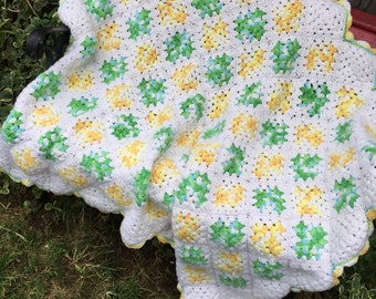 Vintage  Green White & Yellow Small Hand Crochet Afghan or Lap Throw