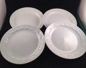 4 Vintage White English Ironstone Wm Adams and Sons Dinner Plates