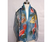 Nuno Felted Scarf Blue with Koi
