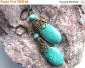 MOVING SALE Turquoise Dangle Earrings / Vintage Style Earrings /  Brass Filigree Earrings / Pierced Earrings