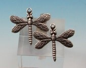 Baby Dragonfly Charm, Antique Silver, 2 Pc. AS156-2