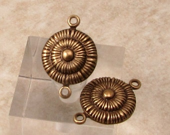 Embossed Disk Connector, Brass Ox, 4 Pc. AB143