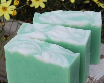 Basil Mint Cold Process Soap with Cruelty-Free Tussah Silk