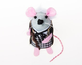 Doctor Who William Hartnell Artisan Mouse Ornament - felt mouse hamster rat mice cute gift for dr who fan collector