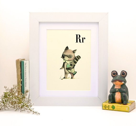 R for Raccoon -8x11- Alphabet art - Alphabet print - ABC wall art - ABC print - Nursery art - Nursery decor - Kids room decor-Children's art