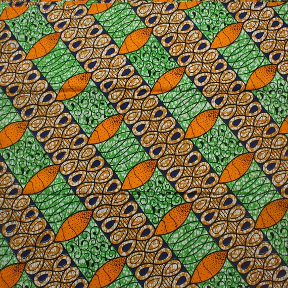 ankara fabric african print fabric green orange and blue. Black Bedroom Furniture Sets. Home Design Ideas
