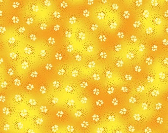 Laurel Burch Fabric Dog & Doggies Yellow Paws All Over Y1799-67