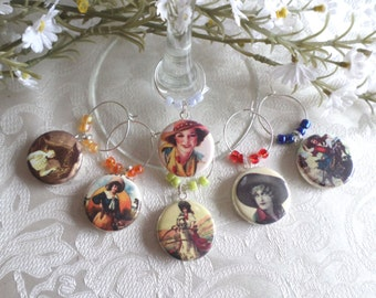 Cowgirls Wine & Drink Glass Charms - Set of 6