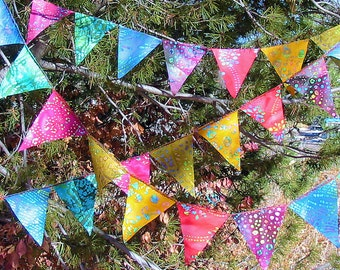 Gypsy Rainbow Batik  Mini Flag Garland 96  Feet  (29.26m)   8 Sets