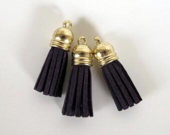 """3 TASSELS Faux suede suedine tassel  in purple. 1 3/8"""" long.  T3-559"""