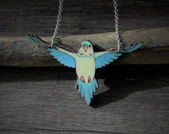 Beautiful flying budgie - bird pendant- by Fanny Dallaire -  leather collection