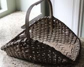 Antique Primitive Gathering Woven Basket with Wood Handle