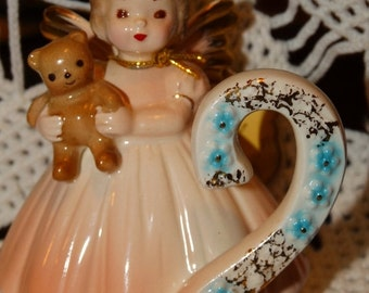 Sale Josef Originals Figurine Birthday Angel #2 Girl Pink Blonde Teddy Bear Vintage, Birthday Cake Topper, Birthday Figurine