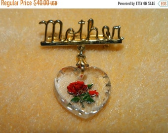 Valentines Day Sale Vintage Mother Pin, Mothers Day Brooch, Glass Rose Heart, Mom, Mother, Best Friend