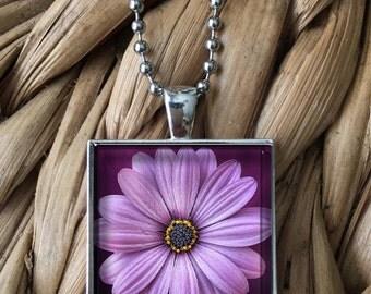 Purple Daisy Flower Pendant Necklace