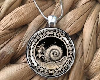 Vintage Style Snail Art Gardener Fantasy Glass Pendant Necklace