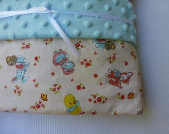 Large Minky Blanket - Vintage Animals - Cotton minky lined baby blanket