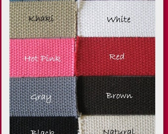 5 yards of 1.25 Inch Heavyweight Cotton Webbing- You choose the colors- Great for making key fobs, belts, purse straps