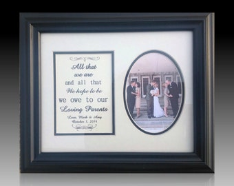Parents Wedding Gift Thank you Framed personalized  Mom Dad Mother Father