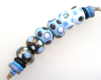 Handmade Lampwork Glass Beads - Eureka! 3 pairs. Dotties in silver black, pajama blue, white. Stacked dots. Earring pairs.