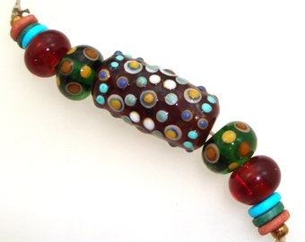 Handmade Lampwork Bead Focal - Matrix! 5 bead set. Warring States Dynasty traditional dot patten on Indian Summer amber.  Accent beads.