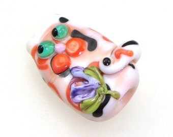 Handmade Lampwork Glass Bead Focal - Katerina! Calico kitty cat focal, coral, peach, white, black, purple flower, green eyes.