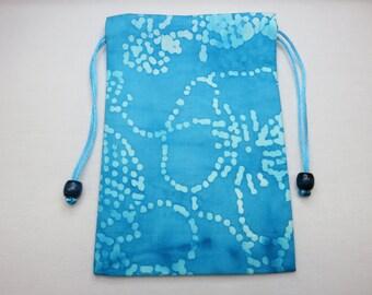 """Blue and White Cotton Batik, Silk Lined Handmade Tarot Card Pouch, Tarot Card Bag 5"""" x 7"""""""
